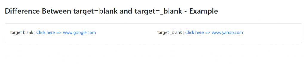 Difference Between target=blank and target=_blank