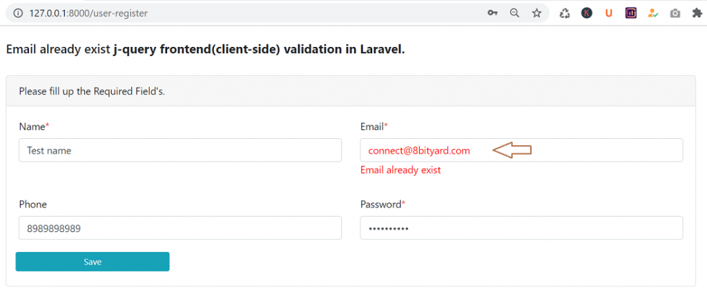 Email already exist using jQuery in laravel
