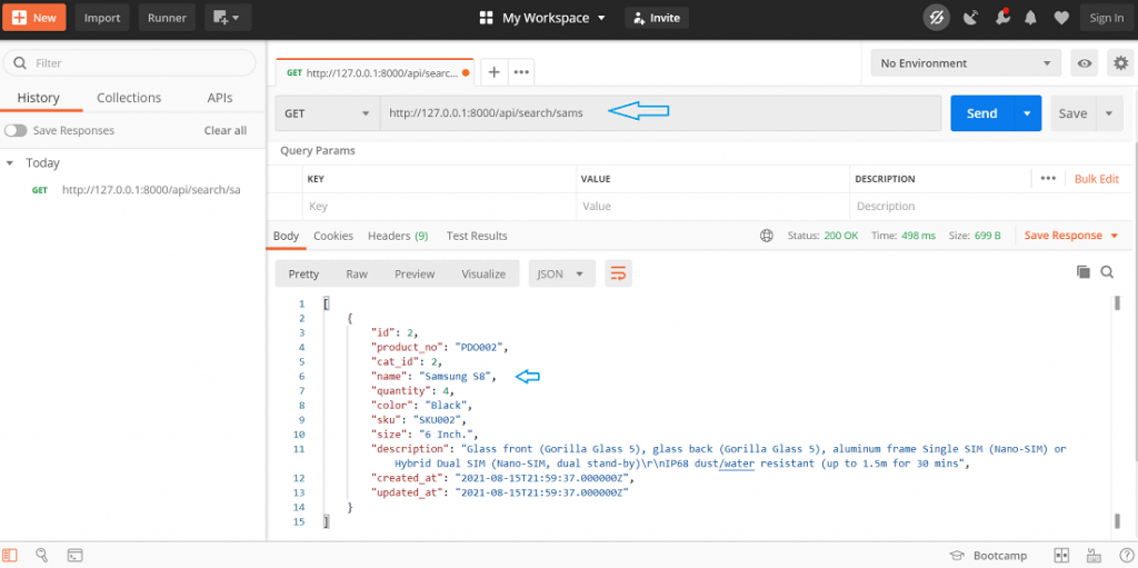 product search api in laravel